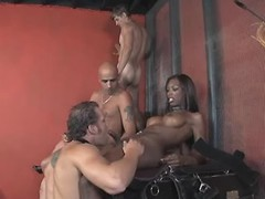 Beautiful black tranny in wild orgy