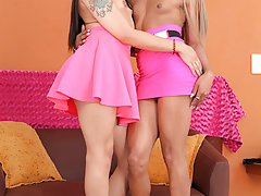 Watch the gorgeous tgirls Mariana Pink & Bella fuck each other!
